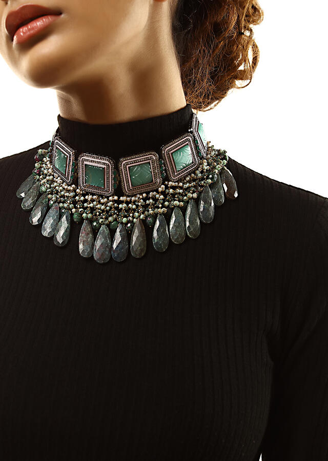Grey Toned Necklace With Carved Green Stones In Square Shape Along With Green Semi Precious Drops By Kohar