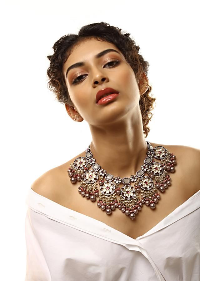 Grey Toned Necklace With Grey Stones And Kundan In Floral Motifs Along With Dangling Grey Pearls And Bead Fringes By Kohar