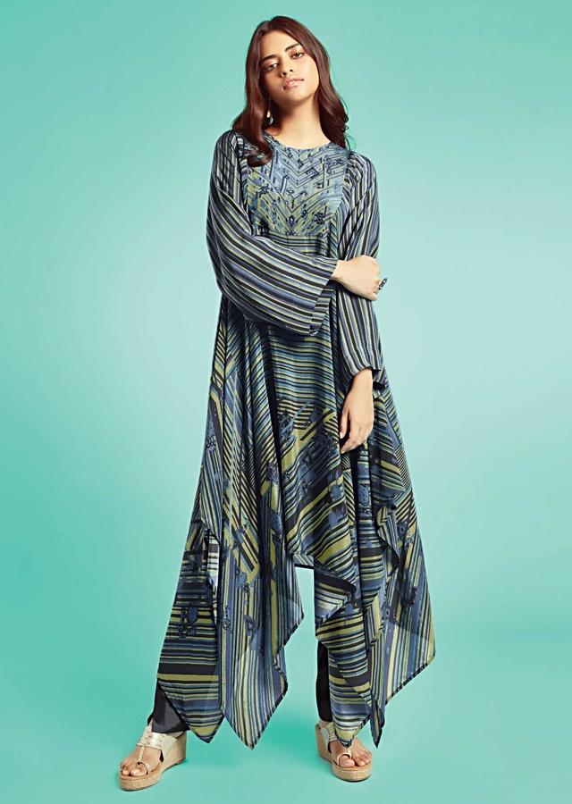 Grey Tunic In Crepe With Handkerchief Cut Hemline And Striped Print Online - Kalki Fashion