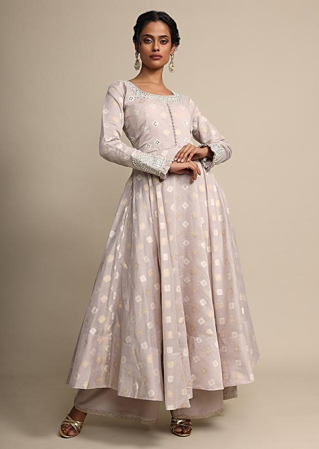 Grey Anarkali Suit With Mirror Embroidered Neckline And Palazzo Pants Online