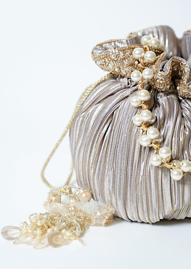 Grey And Golden Potli Bag In Crushed Fabric With Cut Dana Tassels And Handle By Solasta