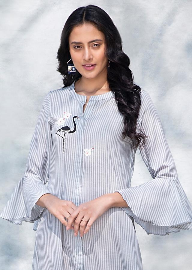Grey And White Tunic With Striped Print And Ruffle Sleeves Online - Kalki Fashion