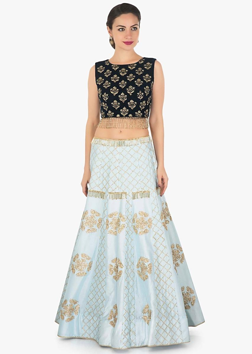 f058182946 Grey blue lehenga in raw silk with zari lace with velvet blouse only on  KalkiMore Detail