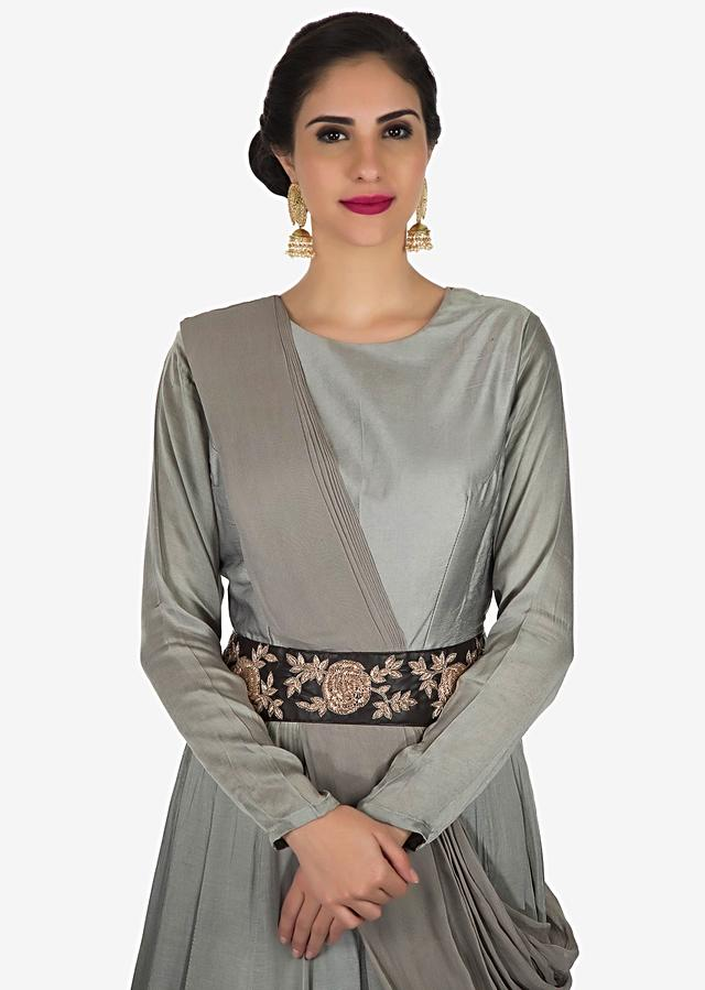 Grey Gown In Crepe With Ready Pleated Dupatta Adorned In Zardosi Embroidery Work Online - Kalki Fashion