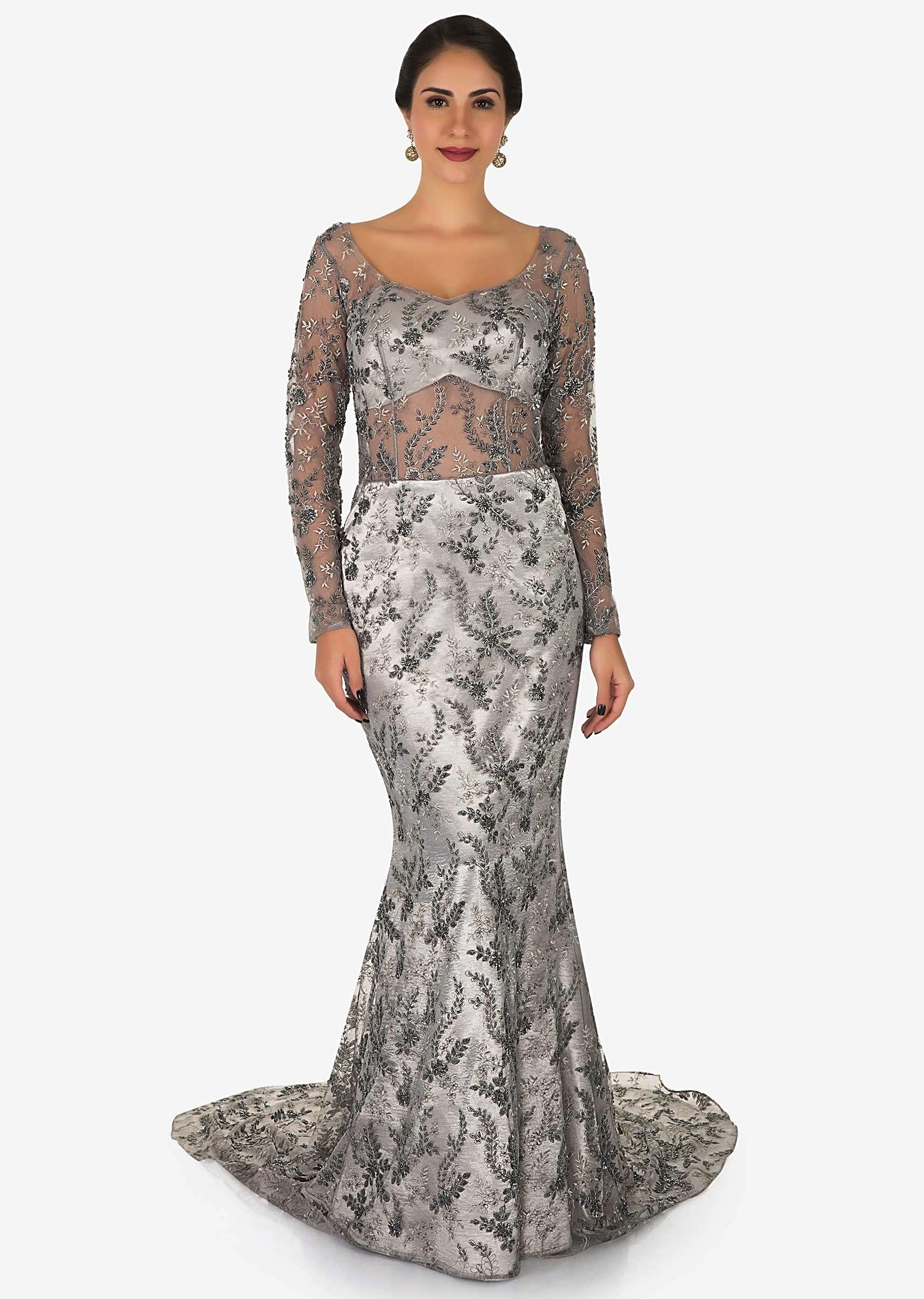 Grey Gown In Net Encrusted With Zari And Cut Dana Embroidery Work