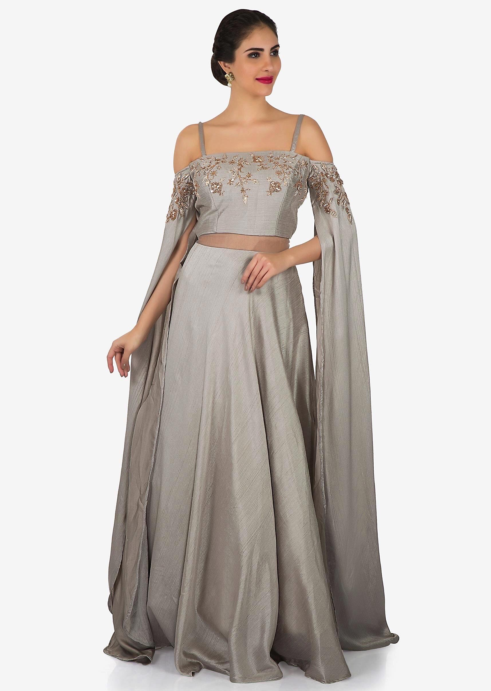 ed8ed2adfe Grey gown in taffeta silk with cold shoulder and long sleeve only on  KalkiMore Detail