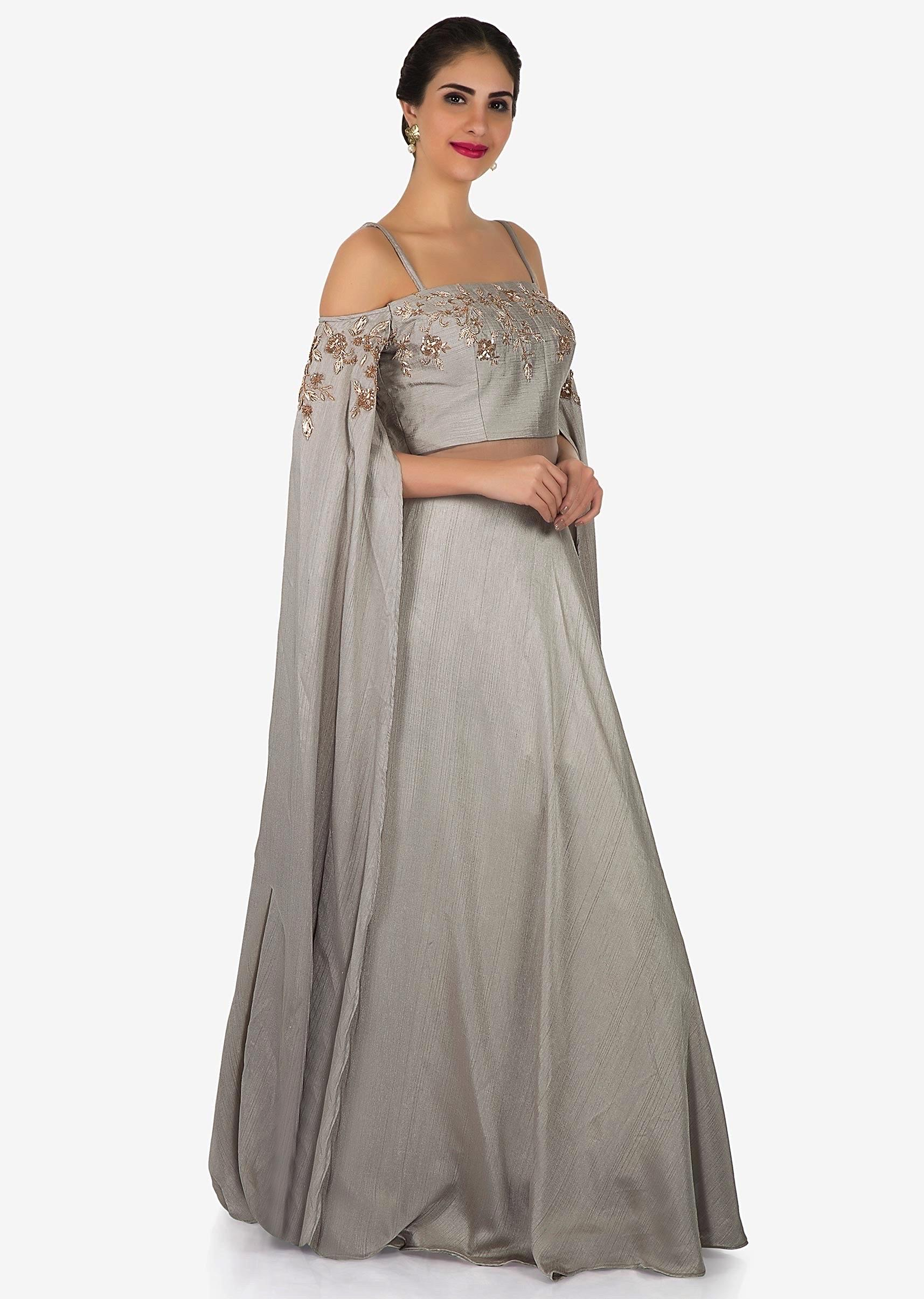 Grey Gown In Taffeta Silk With Cold Shoulder And Long Sleeve Only On