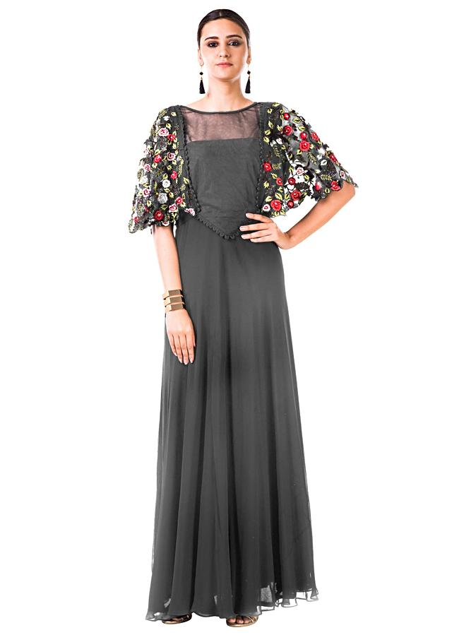 Grey Gown With Hand Embroidered Cape Style Online - Kalki Fashion