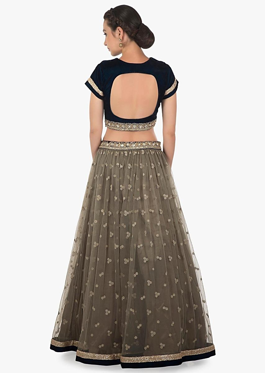 f6a79d03a4db0 Grey lehenga in net with green ready blouse adorn in sequin only on KalkiMore  Detail