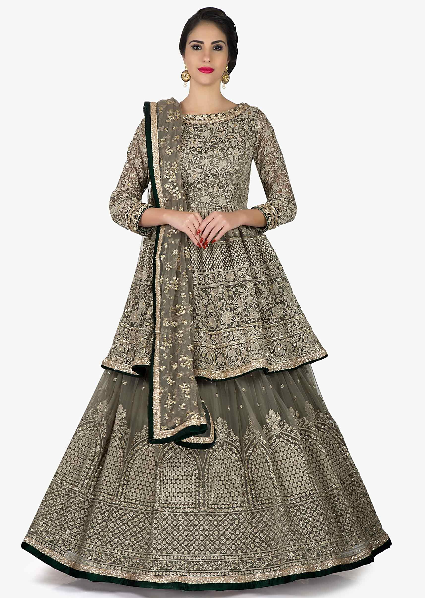 e0b5e55bb51f2 Grey lehenga with peplum top adorn in thread work in floral butti and jaal  motif only on KalkiMore Detail