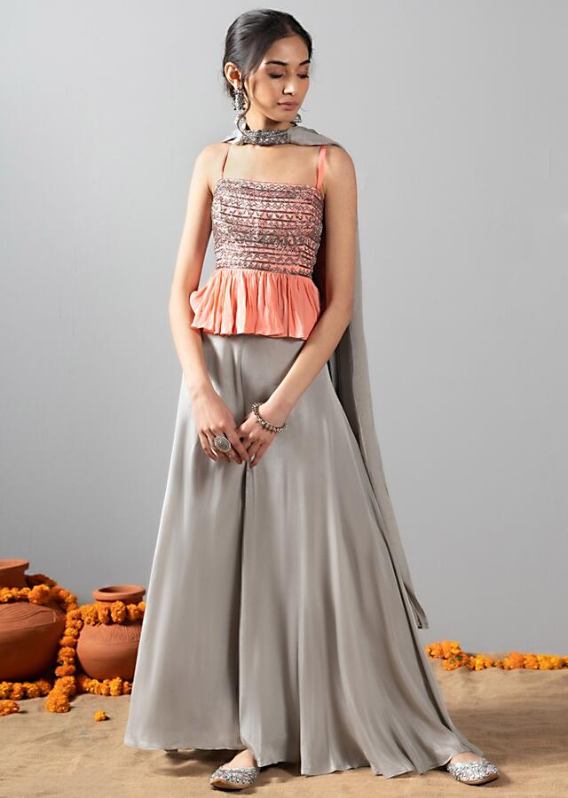 Grey Palazzo Suit With Salmon Pink Peplum Top With Cut Dana And Sequins Work Online - Kalki Fashion