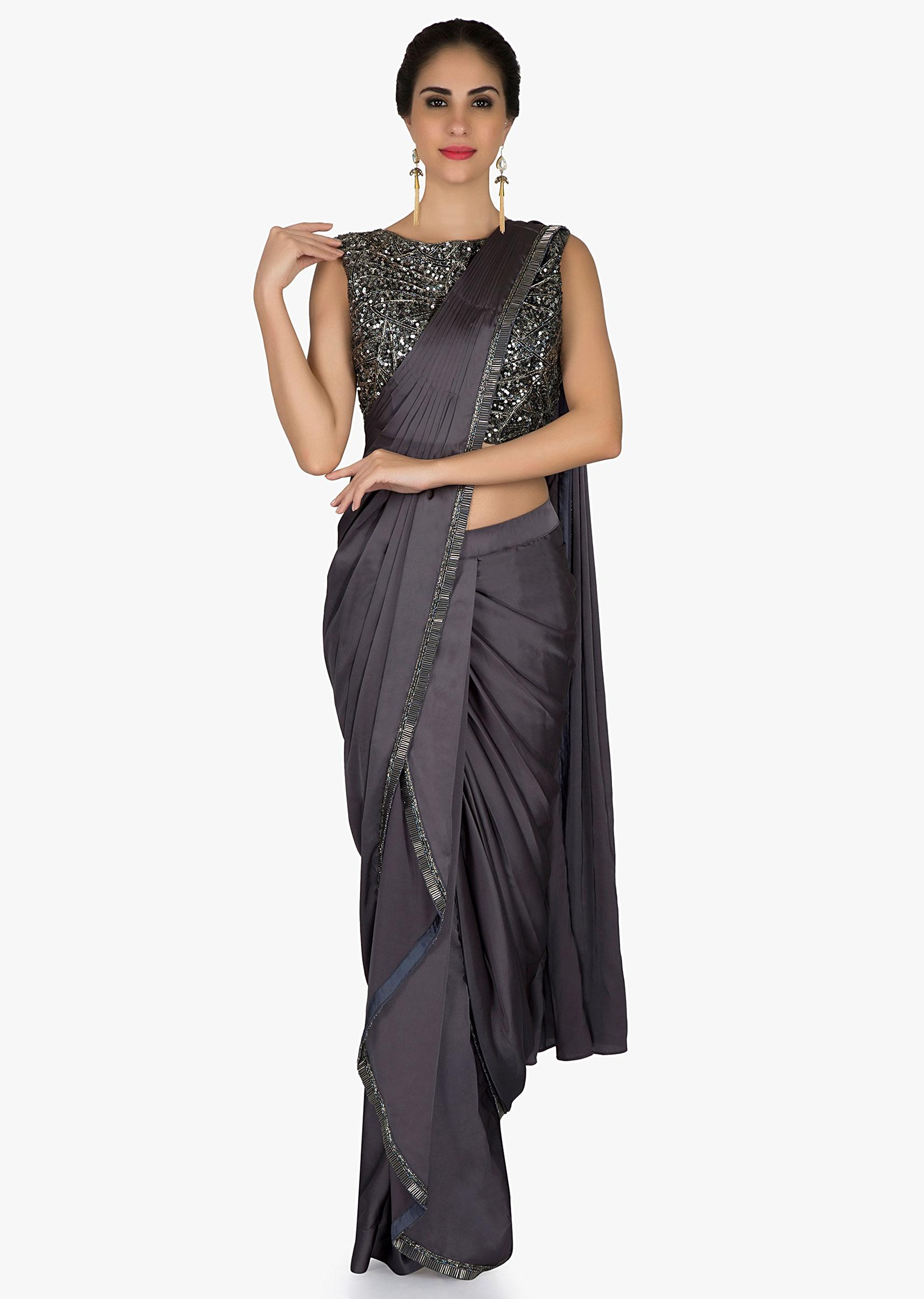 cedd94cca0b14 Grey pre stitched saree in cascade and cowl drape with sequin embroidered  blouse only on KalkiMore Detail