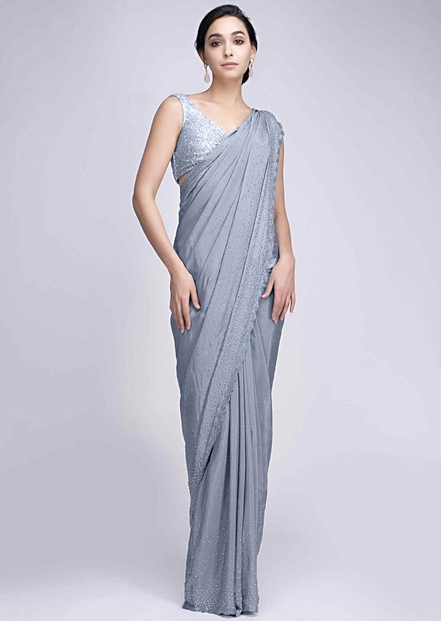 Grey Saree In Satin Crepe With Scattered Kundan All Over Online - Kalki Fashion