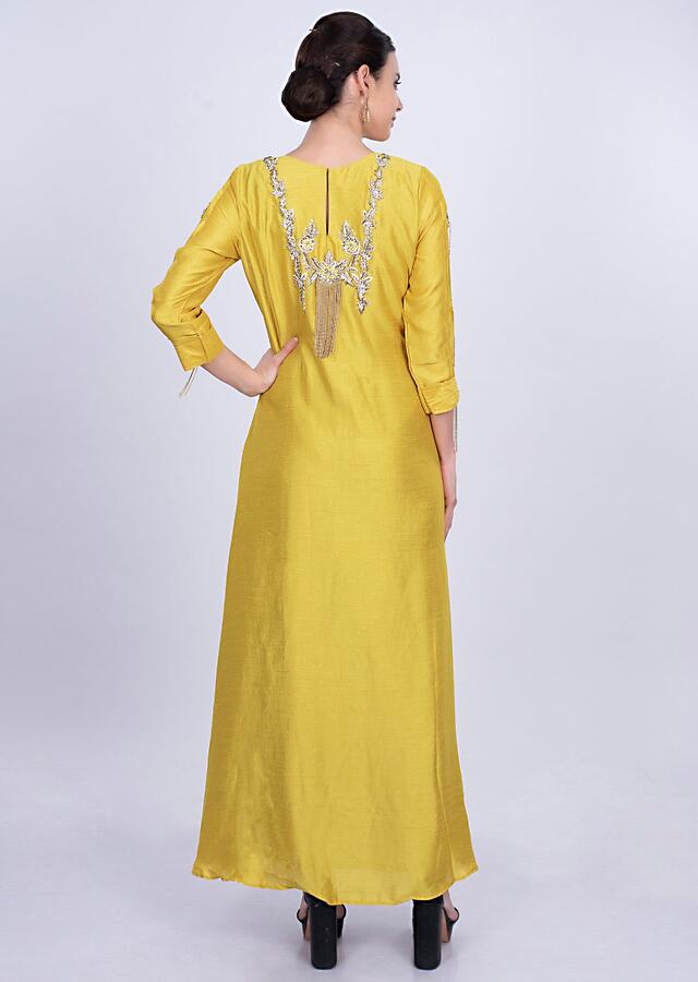 Greyish Blue Tunic Dress In Georgette With Yellow Attached Top Layer Online - Kalki Fashion