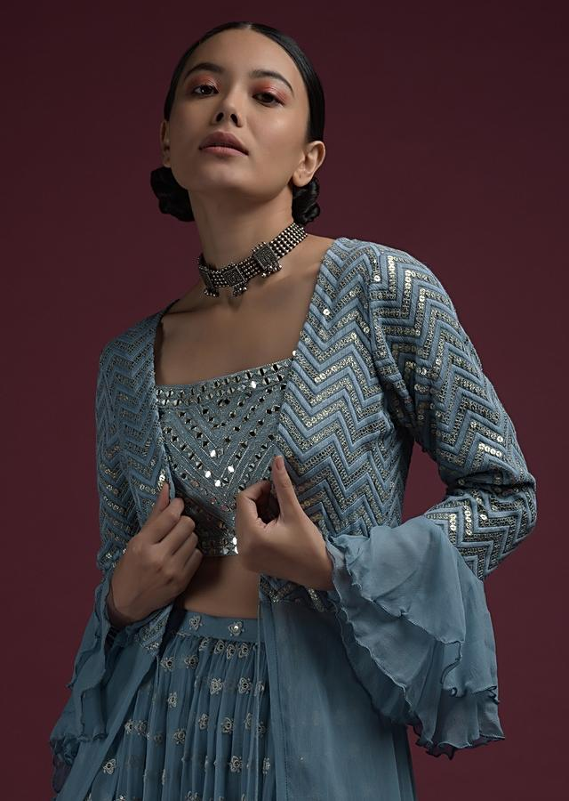 Greyish Blue Palazzo Suit With Ruffle Jacket And Adorned In Lucknowi And Mirror Embroidery Online - Kalki Fashion