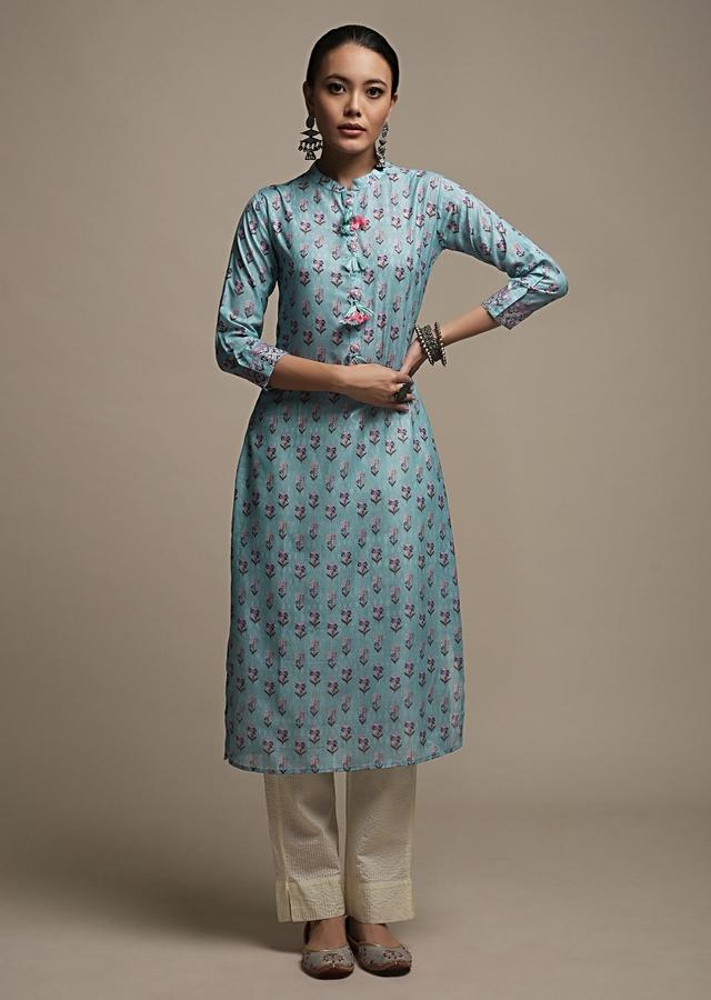 Greyish Blue Straight Cut Kurti In Cotton With Floral Printed Buttis And Tassels On The Placket Online - Kalki Fashion