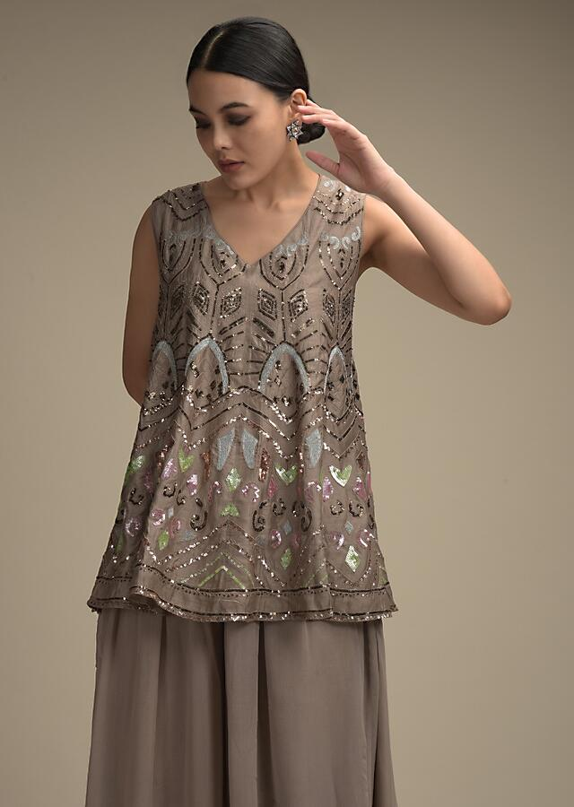 Greyish Brown Palazzo Suit In Georgette With Colorful Sequins And Zari Embroidered Tribal Design Online - Kalki Fashion