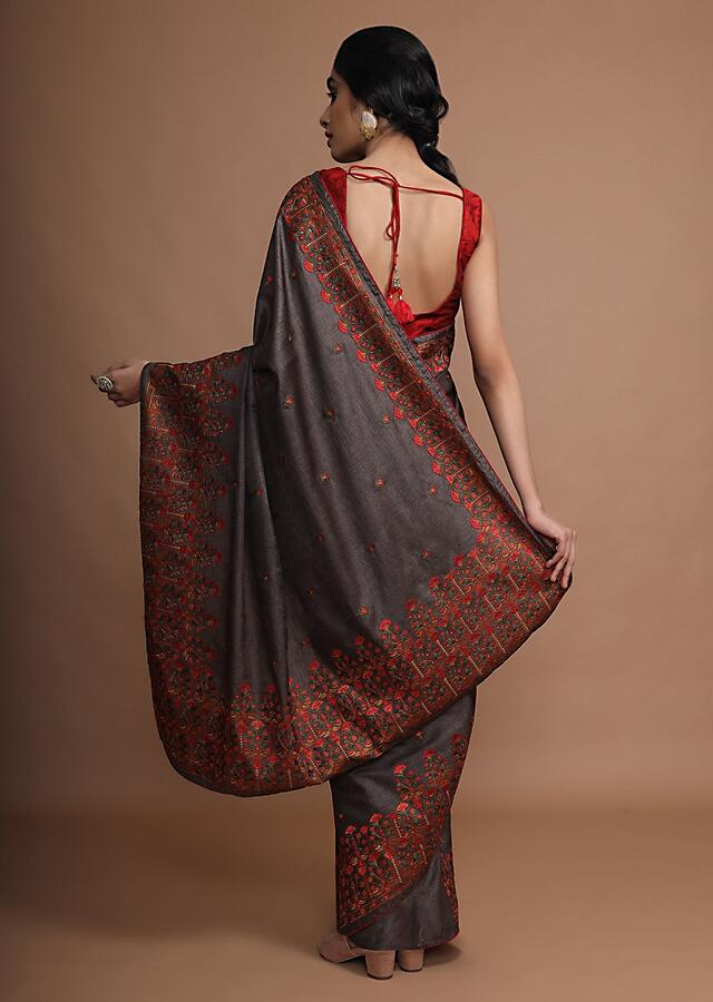Greyish Brown Saree With Colorful Resham Embroidered Floral Design On The Border And Butti Work Online - Kalki Fashion
