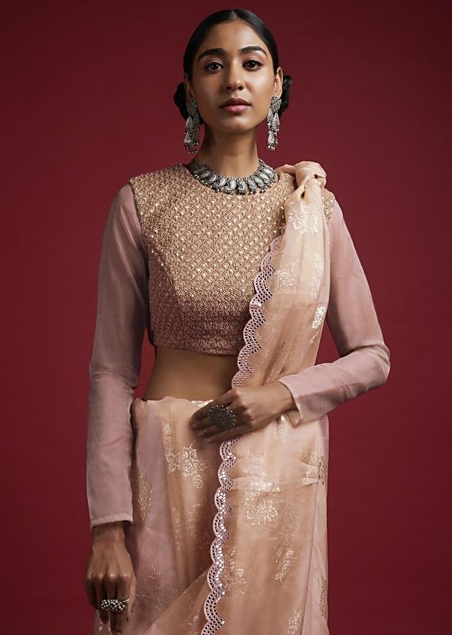 Greyish Gold Blouse In Embroidered Fabric With Zari, Thread And Sequins Work In Jaal Design Online - Kalki Fashion