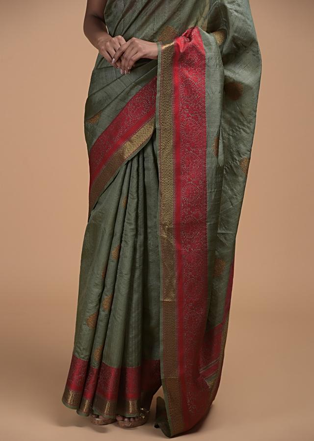 Greyish Green Pure Handloom Saree In Tussar Silk With Woven Leaf Shaped Buttis And Red Border Online - Kalki Fashion