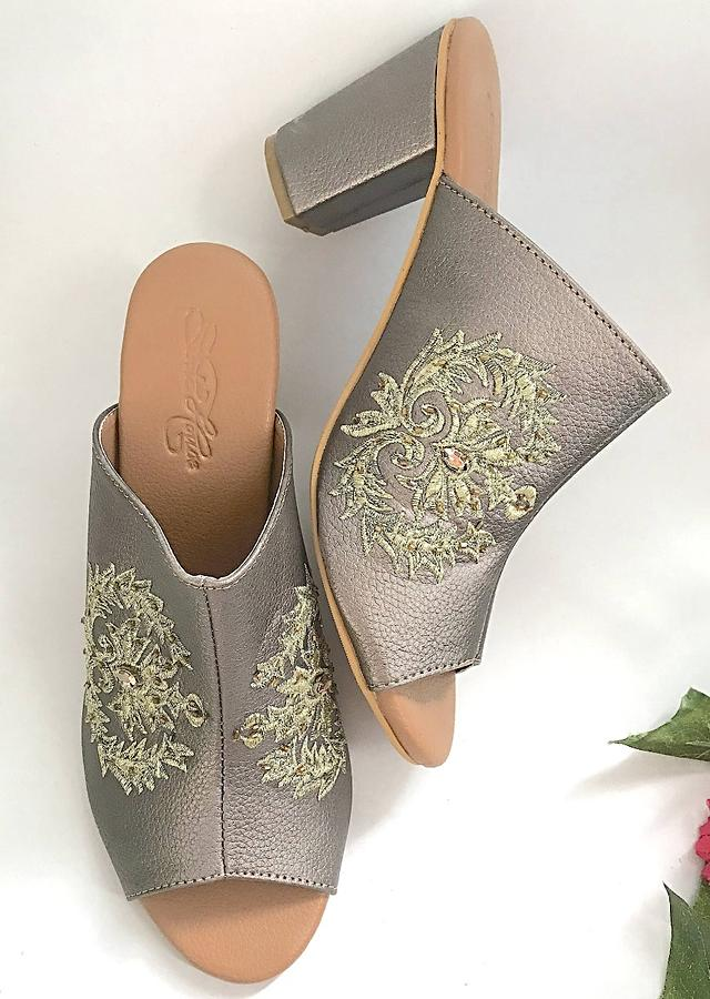 Gunmetal Grey Mules With Zari Embroidery And 3 Inch Block Heel By Sole House