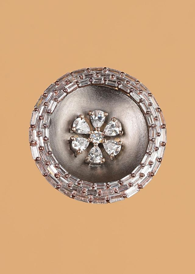 Gunmetal Grey Round Studs With Crystals In Floral Motif And Bugle Beads Online - Kalki Fashion
