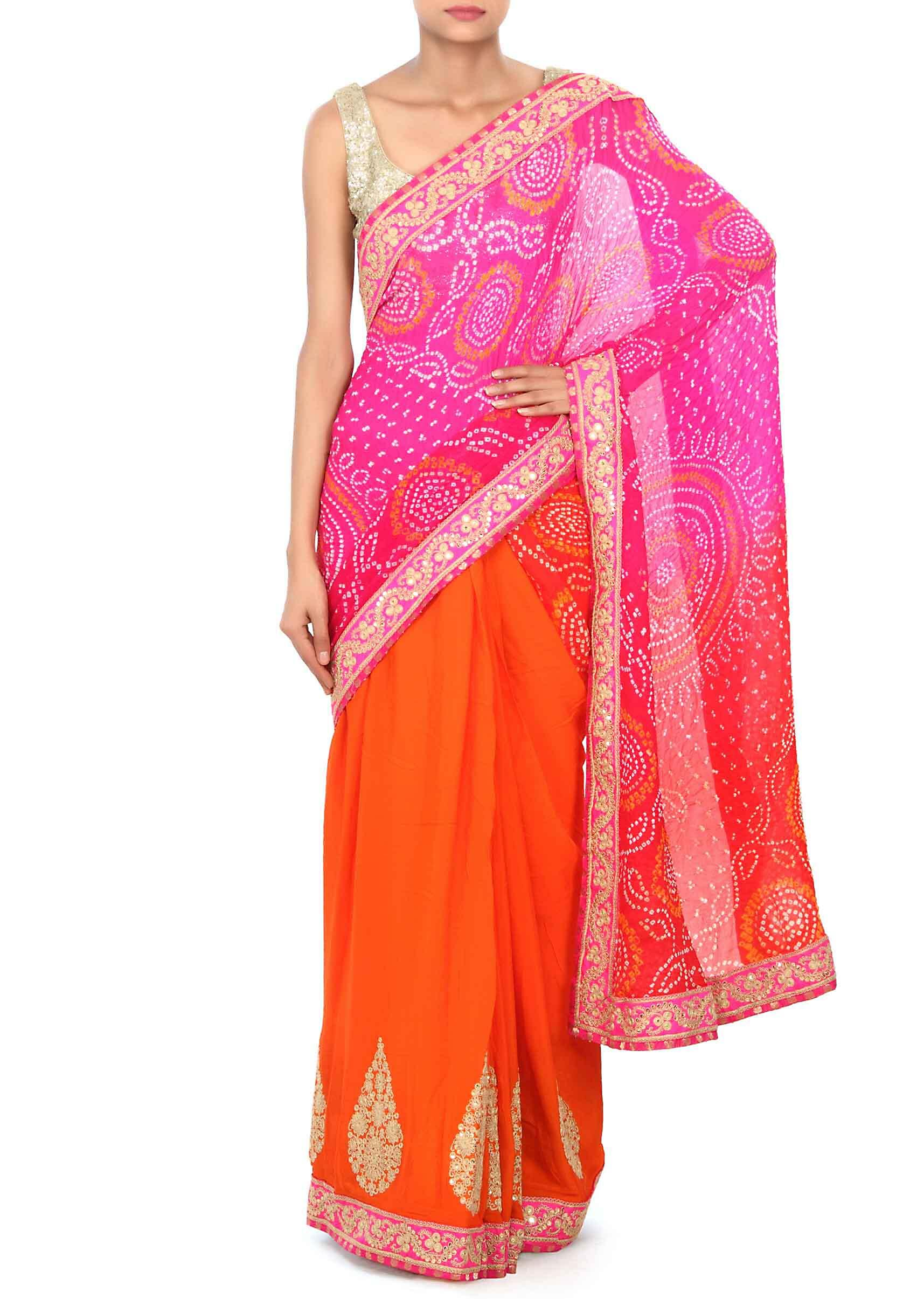 5aa26d2fcd123 Half and half bandhani saree in pink and orange with zari and sequin embroidery  only on KalkiMore Detail