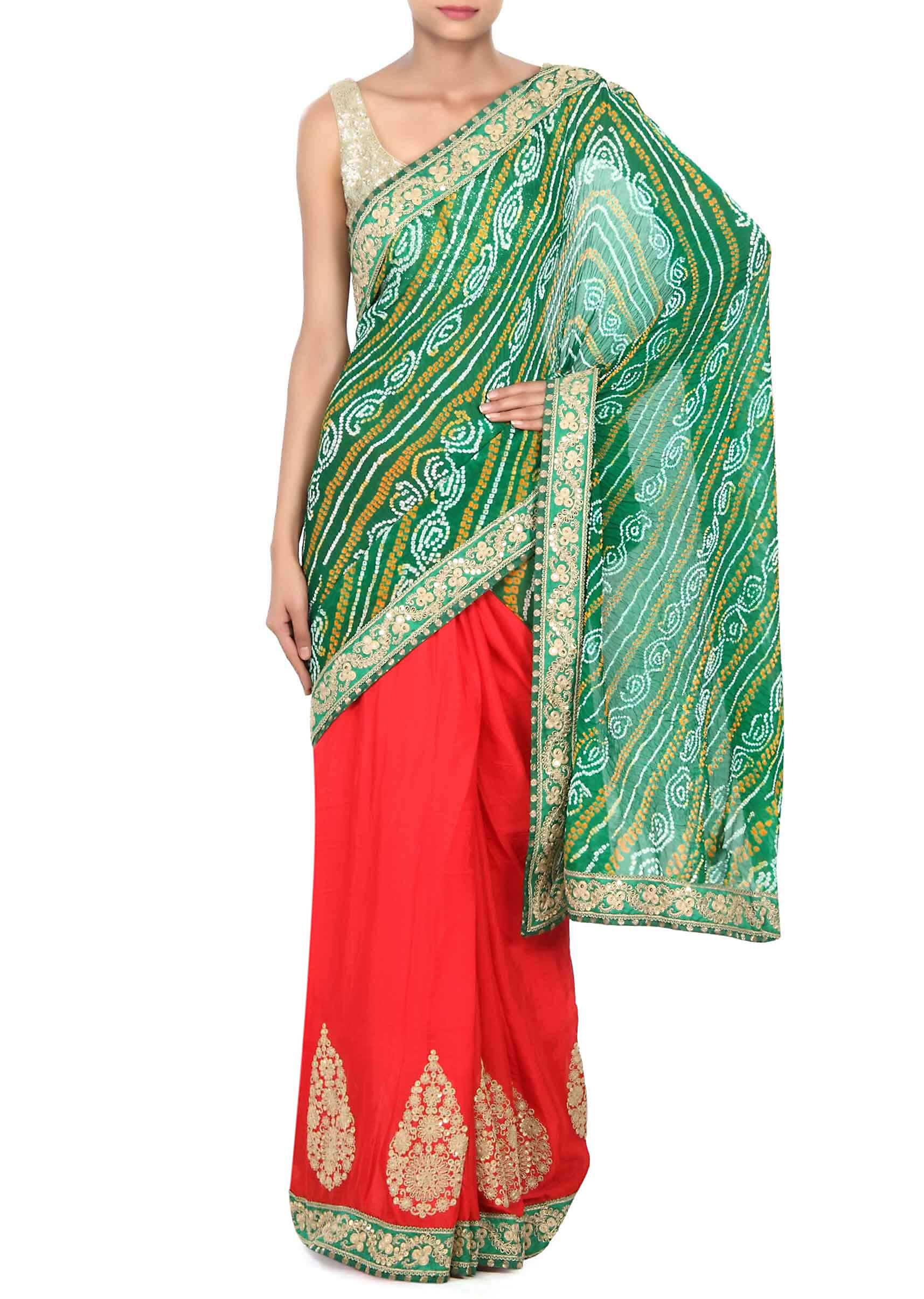 834b732d40 Half and half bandhani saree in red and green with zari and sequin  embroidery only on KalkiMore Detail