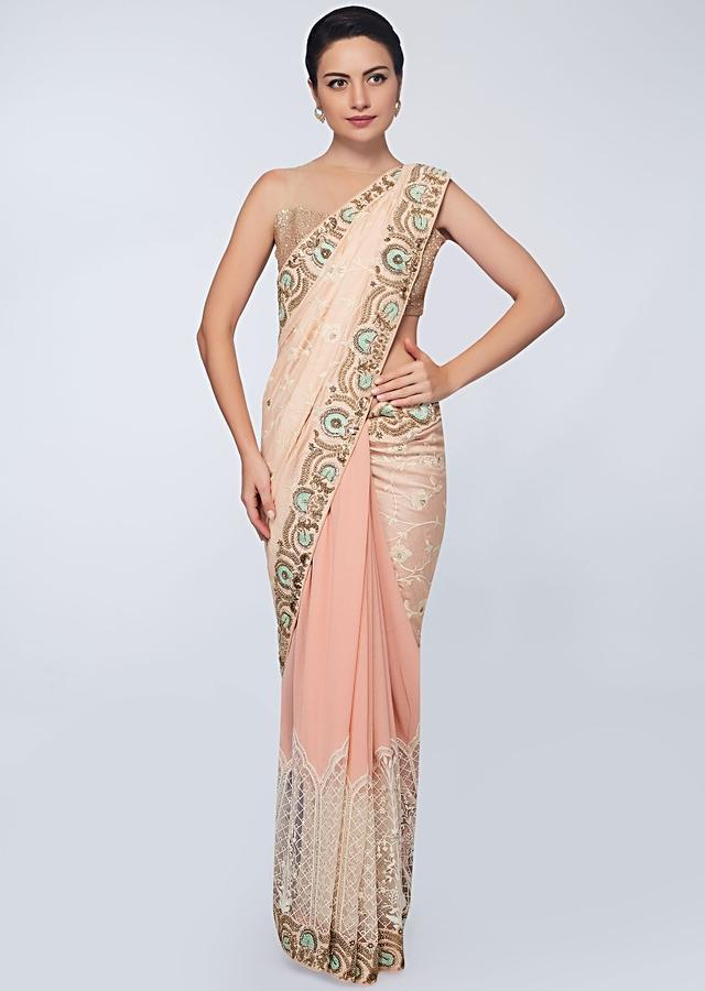Half And Half Saree In Chiffon And Cotton In Shades Of Peach Online - Kalki Fashion