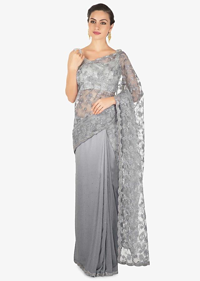 Half And Half Grey Saree In Chantilly Lace Highlighted In Kundan Online - Kalki Fashion