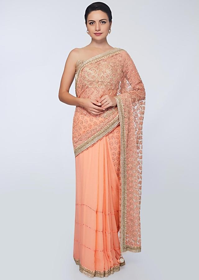 Peach Half And Half Saree In Net And Chiffon With Crochet Stripes Along With Embroidery And Butti Online - Kalki Fashion