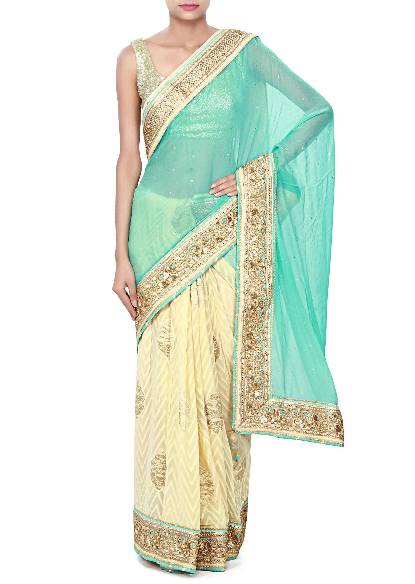 f9fb29eef5d78 Half and half saree in beige and sea blue adorn in cut work border only on KalkiMore  Detail