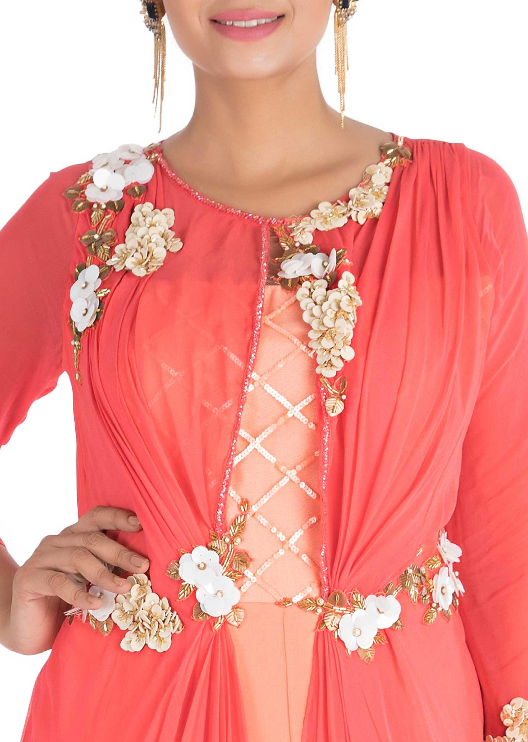 f9f6487db5 Hand embroidered Bright coral and peach layered dress