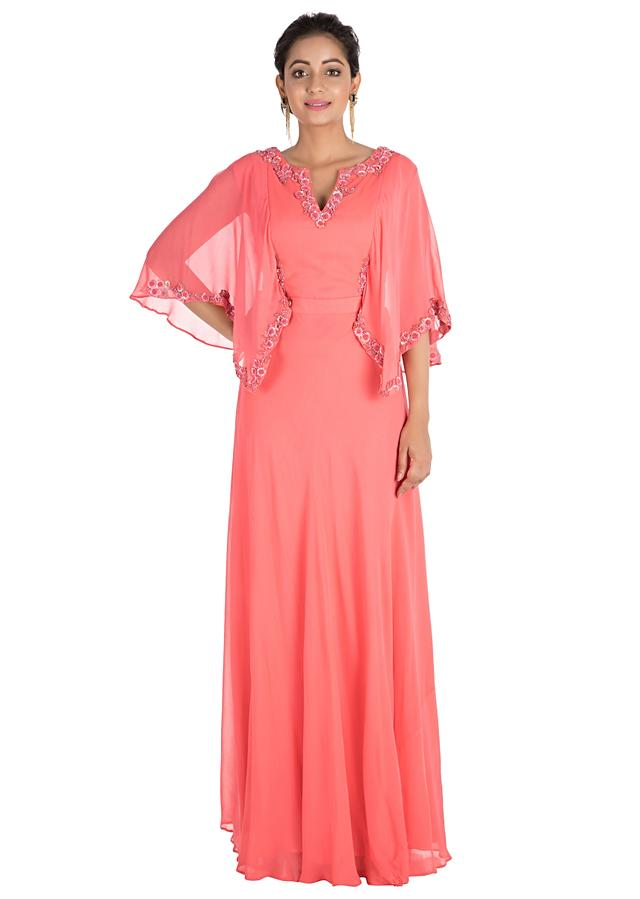 Candy Pink Backside Cape Gown With Hand Embroidery Online - Kalki Fashion