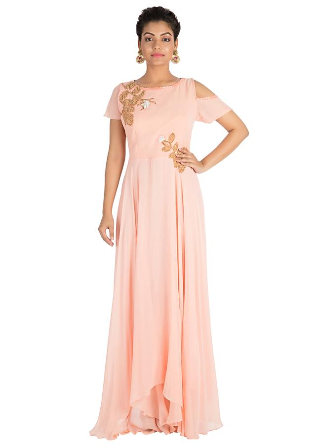 Light Blush Peach Dress With Hand Embroidery Online - Kalki Fashion