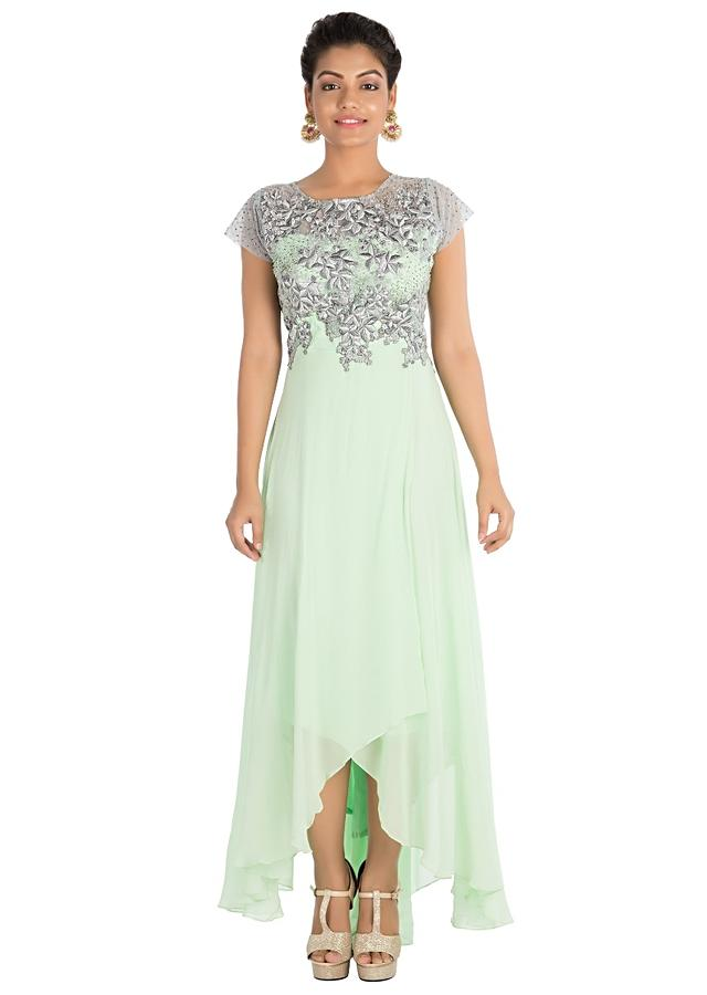Light Green Asymmetric Dress With Hand Embroidery Online - Kalki Fashion