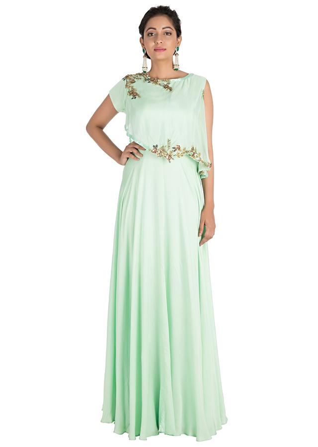 Light Green One Sided Cape Dress With Hand Embroidery Online - Kalki Fashion