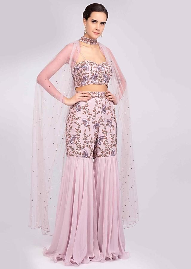 Lilac Sharara And Crop Top With Hand Embroidery And Fancy Net Cape With Collar Belt Online - Kalki Fashion
