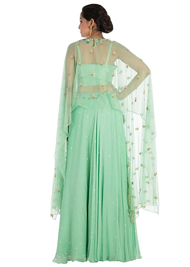 Mint Green Cape Lehenga Set With Hand Embroidery Online - Kalki Fashion