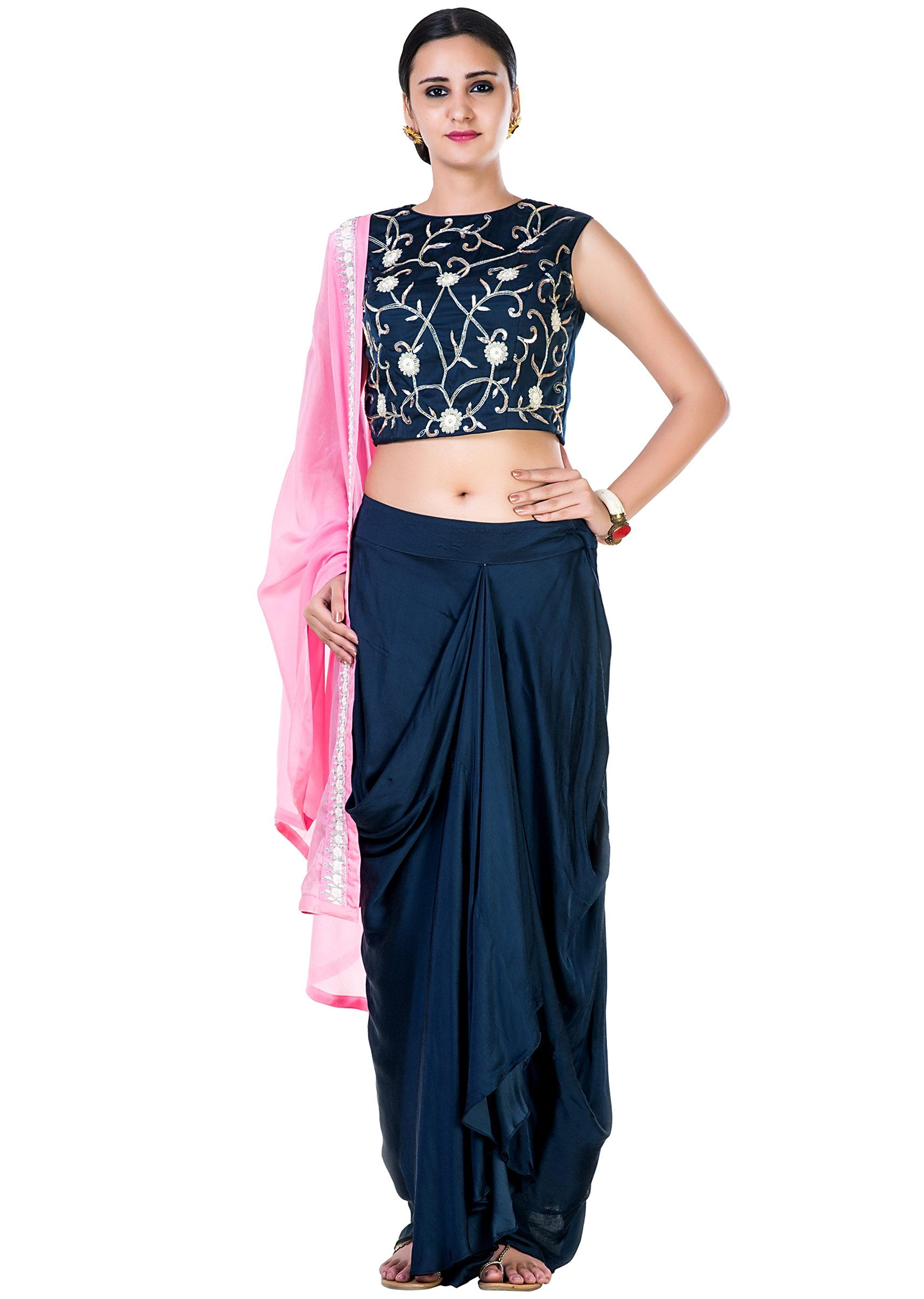 9077949befbec Hand Embroidered Navy Blue Crop Top and a Draped Skirt with a Pink  DupattaMore Detail