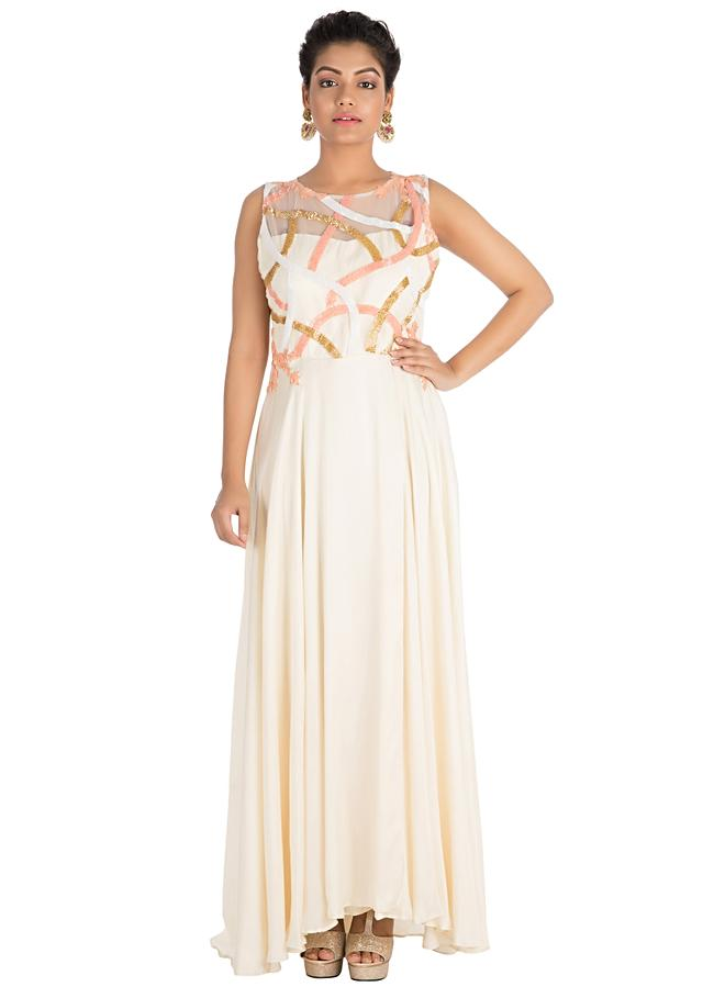 Off-White Gown With Hand Embroidery Online - Kalki Fashion