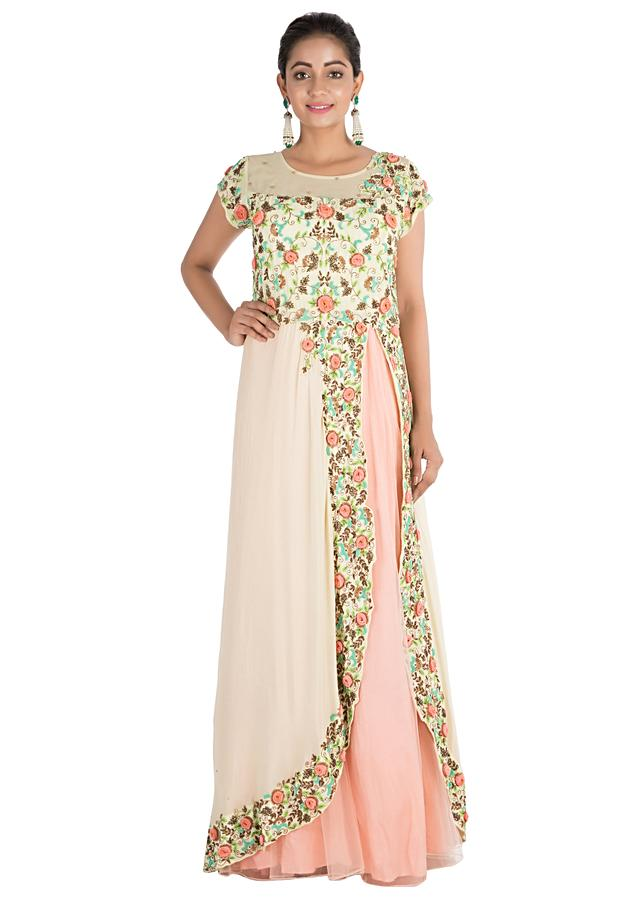Pale Peach And Yellow Gown With Hand Embroidery Online - Kalki Fashion
