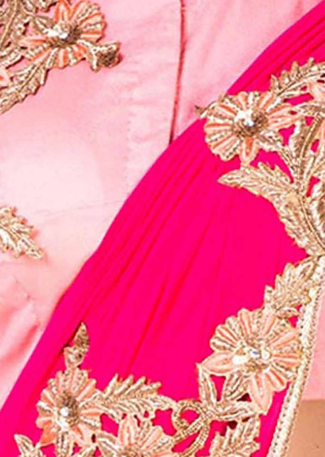 Peach And Rani Pink Lehenga With Hand Embroidery And An Attached Dupatta Online - Kalki Fashion