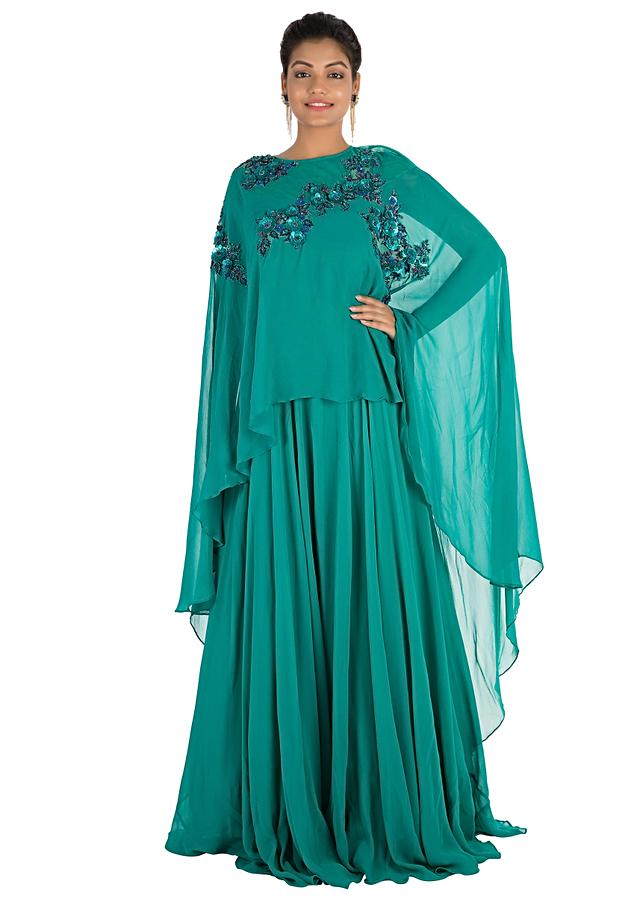 Pine Green Long Cape Gown With Hand Embroidery Online - Kalki Fashion