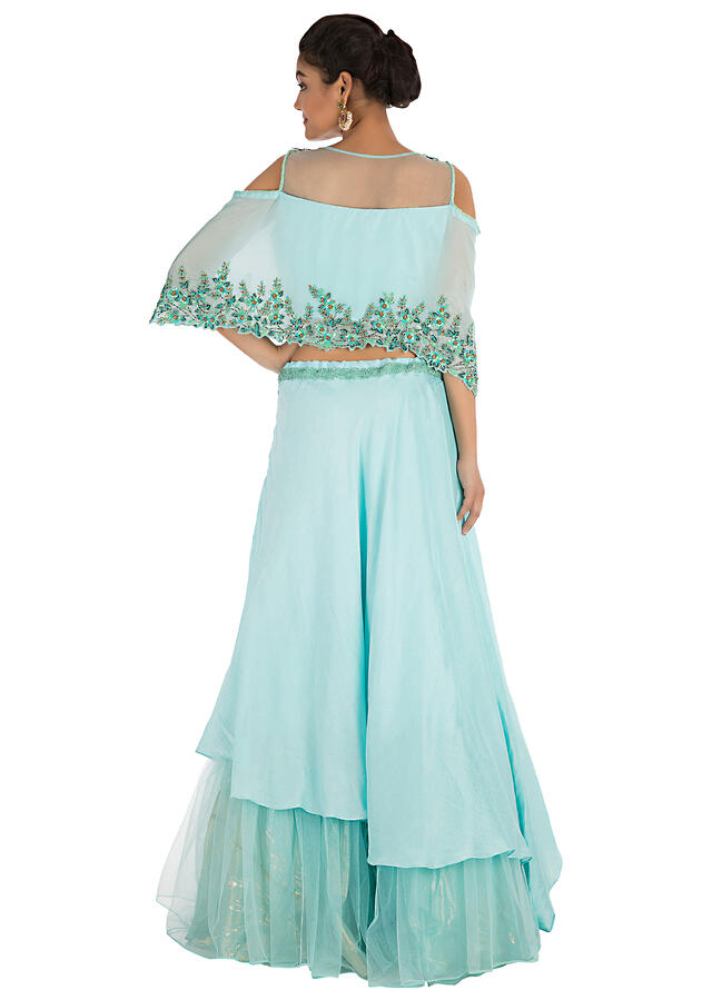 Sea Blue Lehenga Set With Hand Embroidery Online - Kalki Fashion