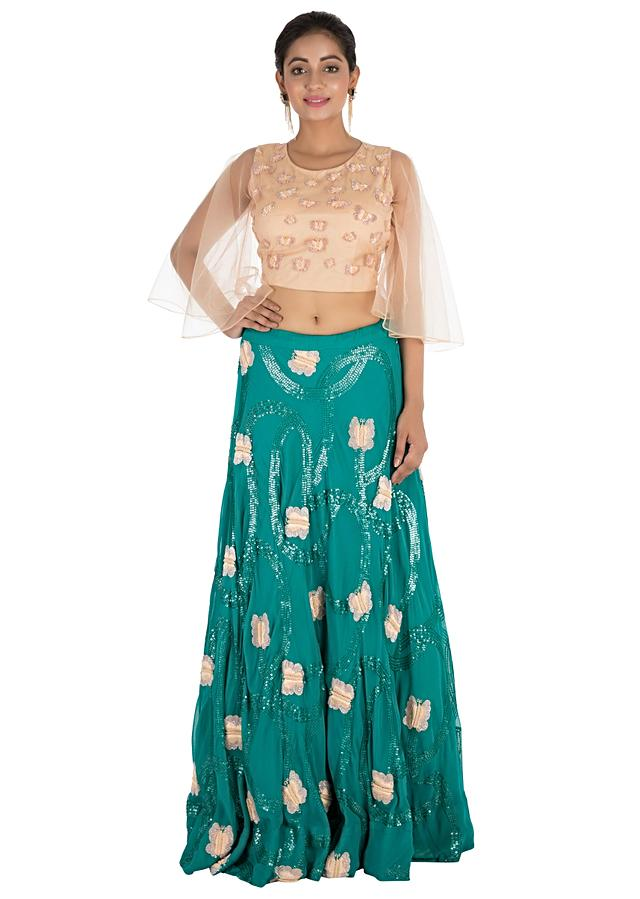 Bottle Green Lehenga Set With Hand Embroidery Online - Kalki Fashion