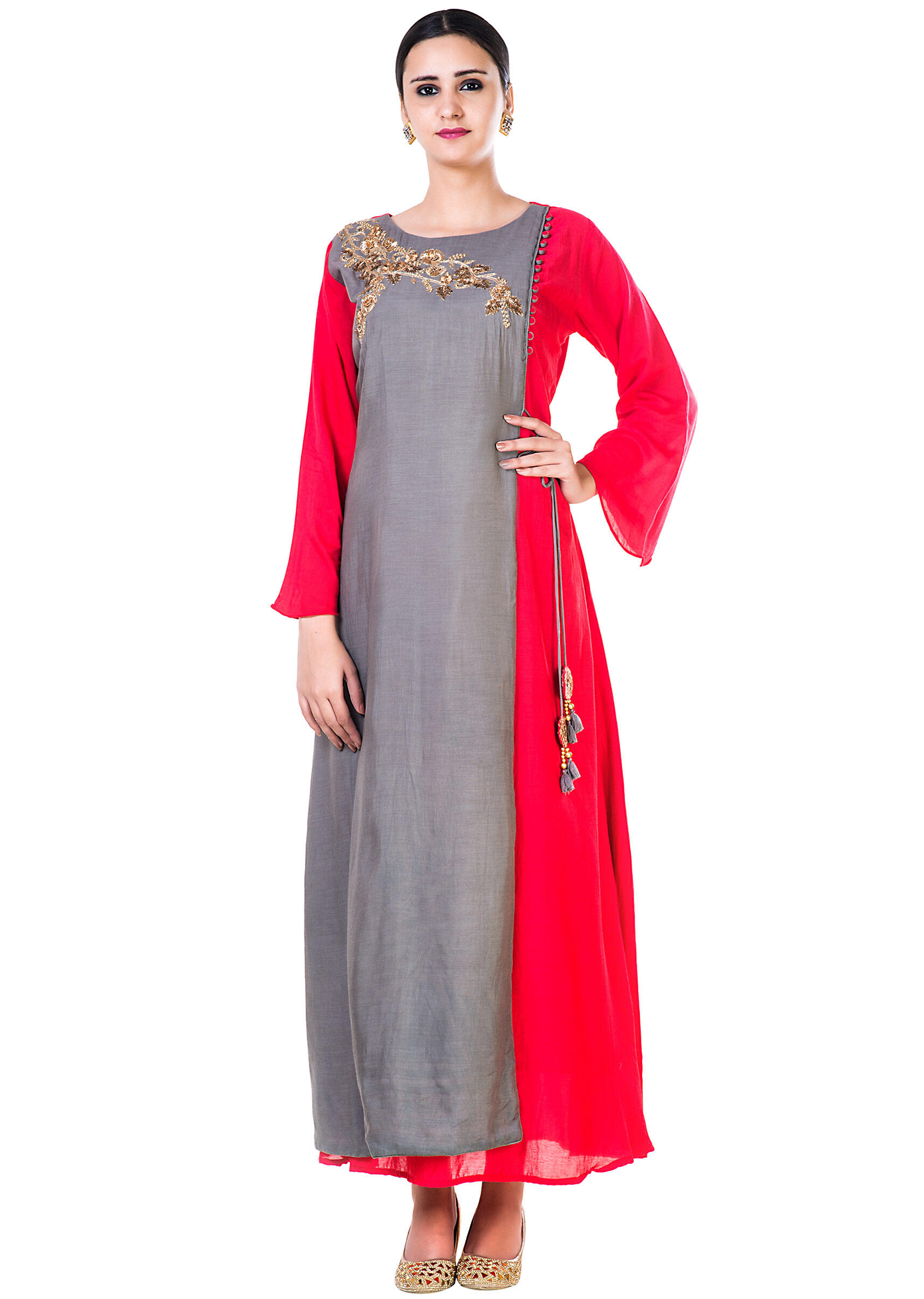 271f6aa704 Hand Emroidered Grey and Red Gown