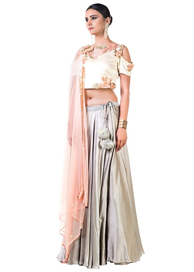 Off White Blouse With Hand Embroidery And A Light Grey Lehenga Online - Kalki Fashion