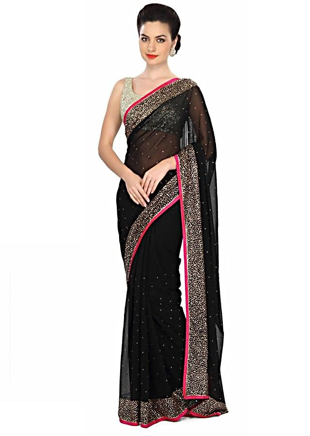 Haute Black Saree Embellished In Kundan Work Online - Kalki Fashion