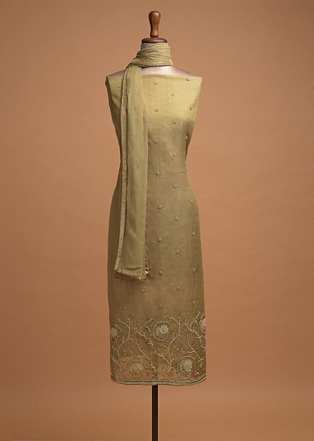 Hazelwood Beige Unstitched Suit In Shimmer Silk With Pearls And Cut Dana Work In Floral Pattern Online - Kalki Fashion